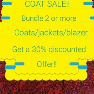 COAT SALE!!!!! 30% OFF BUNDLES OF 2 OR MORE COATS!